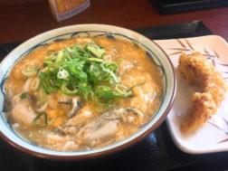 丸亀製麺の牡蠣づくし玉子あんかけ大盛770円とかしわの天140円
