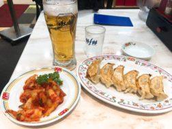餃子の王将の餃子+キムチ+ビール